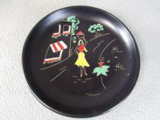 50er Jahre Keramik Wandteller Durchmesser:29cm