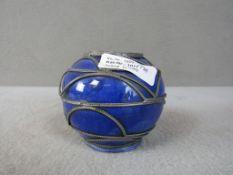 Schöne Vase wohl Jugendstil mit Metallmontierung Durchmesser:11cm