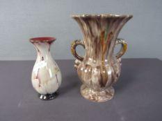 Zwei Keramikvasen 50er Jahre 22cm und