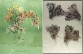 Bruni, Bruno. 1935 GradaraVier Amaryllis. Orchidea. 2 Lithographien. Sign. Bis 91 x 68