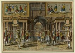 Delff, Jacobsz. Willem. 1580 - Delft - 1638Fechtschule. Kol. Kupferstich. Bez. 50 x 70