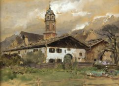 Compton, Edward Harrison. 1881 - Feldafing - 1960Dorf in den Bergen. Aquarell über Ble