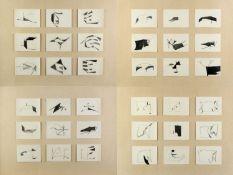 Domenig, Gerald. 1953 VillachKompositionen auf Karten. 4 Bll. mit je 9 Bleistiftzeichn.
