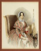Swoboda, Eduard. 1814 Wien - Hallstatt 1902Sitzende Dame am Spinnrad. Aquarellierte Ble