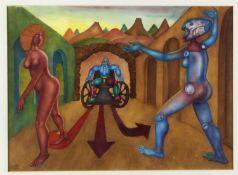Hanko, Hans. 1923 Wien - 2014 ?Surrealistische Szene mit weiblichen Akten und Roboter.