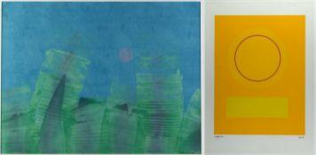 Leppien, Jean u.a.Komposition mit einem Kreis. Variation blau/grün rote Sonne. 2 Farbserigra