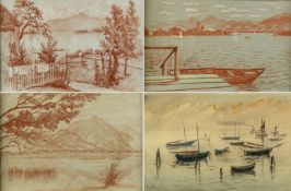 Vinnai, Eugen. 1889 Ötisheim - Am Chiemsee 1961Chiemsee. Berge. Boote. 4 Rötelzeichn.