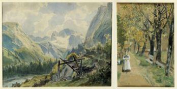 Reinicke, René. Fritsch, MelchiorMädchen auf einem Weg unter blühenden Bäumen. Sommerlich