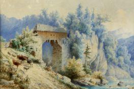 Doll, Anton. 1826 - München - 1887Bergige Landschaft mit einer Brücke und einer Kuhhe