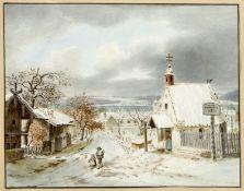 Deutsch, 19. Jh.Verschneite Landschaft mit einer Kapelle am See. Wohl die Fischerkapelle in P