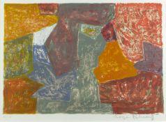 Poliakoff, Serge. 1906 Moskau - Paris 1969Composition carmin, jaune, grise et bleu. Far