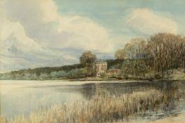Mattschass, Erich. 1866 - Berlin - 1946Villa an einem See. Aquarellierte Farb- und Blei