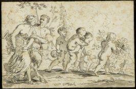 Brebiette, Pierre. 1598 - ca. 1650. Umkreis Bacchanal. Lavierte Tuschfederzeichn. 12 x