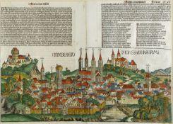 Schedel, Hartmann. 1440 - Nürnberg - 1514Bamberg. Holzschnitt. 40 x 55 cm. Aus der Sch