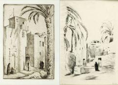 Orlik, Emil. 1870 Prag - Berlin 1932Straßenszene in Tunis. Araberin auf einer Straße
