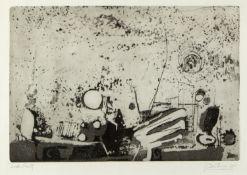 Unbekannt, 20. Jh.Abstrakte Komposition. Radierung. Sign. und dat. (19)64. 33 x 49 cm.