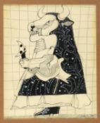 Dittrich, Simon. 1940 TeplitzDer Stierpriester. Gouache und Kohlezeichn. Sign. und dat.