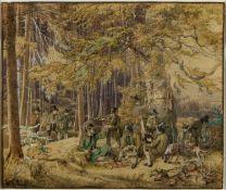Quaglio, Lorenzo II. 1793 - München - 1869Jäger rasten nach einer erfolgreichen Jagd.