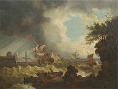 """Altmeister 18. Jh.,""""Segelschiffe in stürmischer See vor Küste"""", Öl/Lw., unsign., UmkreisCl"""