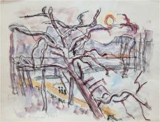 "Hauptmann, Ivo (1886 Erkner-1973 Hamburg/Dresden) ""Baum im Sonnenuntergang - Hamburg"",Aquarel"