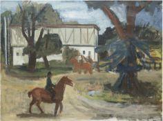 """Michaelson, Hans (1872 Hettstedt bei Halle a.d.Saale-1954 Ecuador) """"Reiter zu Pferd"""",Öl/Lw.,"""