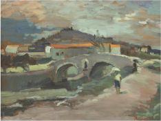 """""""Person vor Steinbrücke"""", Öl/Mp., undeutl. sign. u.r., 56x70 cm, Rahmen"""