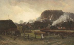 """Langeveld, Frans (1877 Amsterdam-1939 Laren, Niederlande) """"Blick auf eine ländlicheSiedlung"""