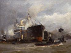 "Sandrock, Leonhard (1867 Neumarkt-1945 Berlin) ""Hamburger Hafen"", um 1900, Öl/Lw., sign.u.r."