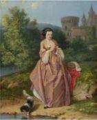 """Französischer Maler 19. Jh. """"Burgfräulein mit Hund am See"""", Öl/Holz, sign. u.l. """"Colin"""",42"""