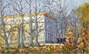 """Impressionist """"Herbstlicher Park mit Gebäude"""", Öl/Mp., unsign., 34x50 cm"""