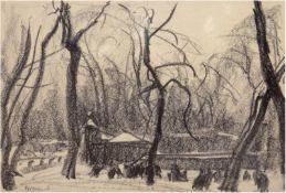 """Bremer, Hans (1885 Berlin-1959 Berlin) """"Wintervergnügen"""", Bleistift-/Kohlezeichnung, sign.u."""