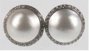 Ohrstecker mit großen Mabe-Perlen, Durchmesser ca. 15 mm, 585er WG, Aufstecker 750er GG,Bri