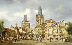 """Pallmann, Peter Götz (1908 Berlin-1966 ebenda) """"Ansicht von Prag mit belebterKarlsbrücke"""","""