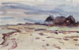 """Tschirch, Egon (1889 Rostock-1948 Rostock) """"Gehöft am Bodden"""", Aquarell, sign. und datiert19"""