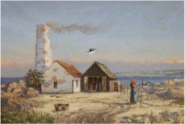 """Ege, Mogens (1892 Kopenhagen-1946 Allinge) """"Fischersfrau bei der Arbeit an den Netzen"""",Öl/Lw"""