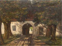 """Hübner, Heinrich (1869 Berlin-1945 Konstanz-Dingelsdorf) """"Bäume vor der Toreinfahrt"""",Öl/Lw"""