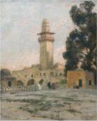 """Possart, Felix (1837 Berlin-1928 ebenda) """" Minarett am Haram in Jerusalem"""", Öl/Lw./Karton,si"""