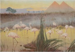 """Laszenko, Alexander (1883 Annowka/Ukraine-1944) """"Flamingos vor den Pyramiden von Gizeh"""",Öl/"""