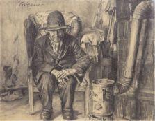 """Bremer, Hans (1885 Berlin-1959 Berlin) """"Am Ofen"""", Bleistift-/Kohlezeichnung, sign. o.l.,und d"""