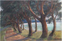"""Rost, K. """"Bäume am Ufer"""", Pastell/Papier, sign. u.r. und dat. '77, 46x63 cm, imPassepartout"""