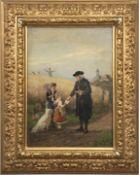 "Beinke, Fritz (1842 Düsseldorf-1907 ebenda) ""Landpfarrer mit zwei Kindern"", Öl/Holz, sign.u"