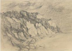 """Loose, P. """"Steilküste"""", Zeichnung, sign. u.l., 47x62 cm, im Passepartout"""