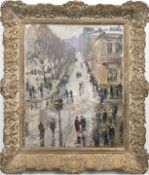 "Impressionist ""Belebte Straßenszene"", Öl/Lw./Holz, undeutl. sign. u.l., 47x35 cm, Rahmen"