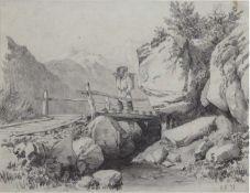 """Monogrammist """"Wandersmann auf der Brücke im Tal"""", Zeichnung, monogr. """"EV"""" und dat. '94,Blatt"""
