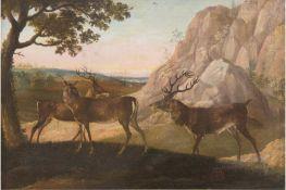 """Tiermaler 18. Jh. (Umkreis Ruthardt) """"Hirschgruppe in felsiger Landschaft"""", Öl/Lw.,unsign.,"""