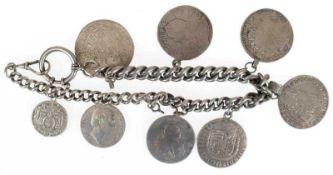 Münzuhrenkette, Silber, geprüft, mit 8 diversen Silbermünzen des 18. Jh., ca. 317 g, L. 42