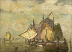 """Dill, Ludwig (1848 Gernsbach-1940 Karlsruhe) """"Venezianische Fischerboote"""", Öl/Lw., sign.u.r."""