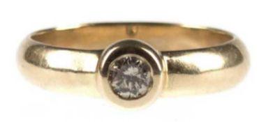 Brillant-Ring, 585er GG, besetzt mit Solitär, Cape yellow, 0,35 ct, in Zargenfassung, RG60