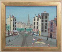"Guerin, Armand Marie (1913-1983) ""Straßenszene in Paris"", Öl/Sperrholz, sign. u.l., 22x27cm"