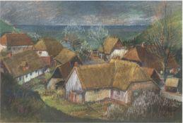 """Rost, K. """"Fischerdorf Vitt auf Rügen"""", Pastell/Papier, sign. u.r. und dat. '74, 46x63 cm,im"""